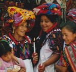 Guatemalan Women Wearing 'Tzutes' and Holding Candles